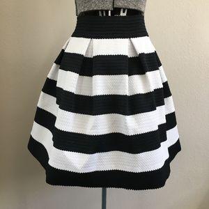 Express Black and White Skater Skirt